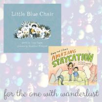 https://penguinrandomhouse.ca/books/237448/little-blue-chair#9781770497559 / https://penguinrandomhouse.ca/books/247728/harry-and-clares-amazing-staycation#9781770498273